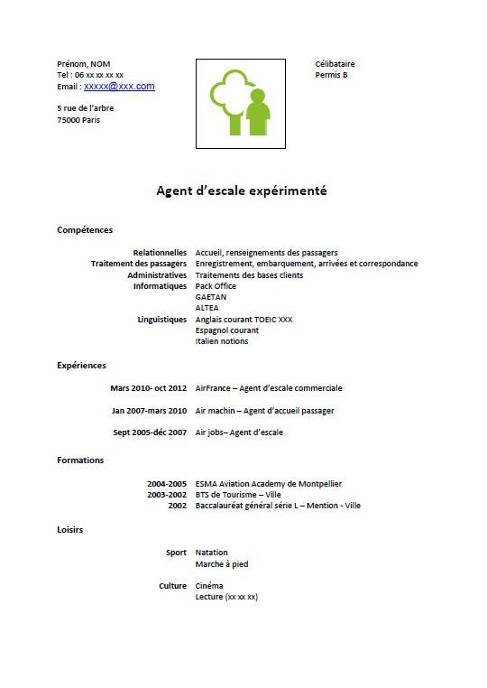 resume format  exemple de cv gratuit agent d u0026 39 entretien