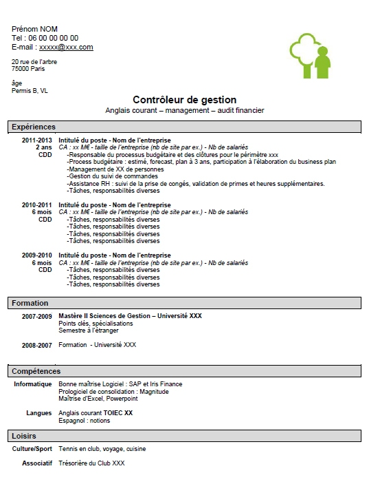 Exemple de CV controleur de gestion junior